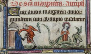 St Margaret in prison and emerging from a dragon. The Taymouth Hours early 14th century