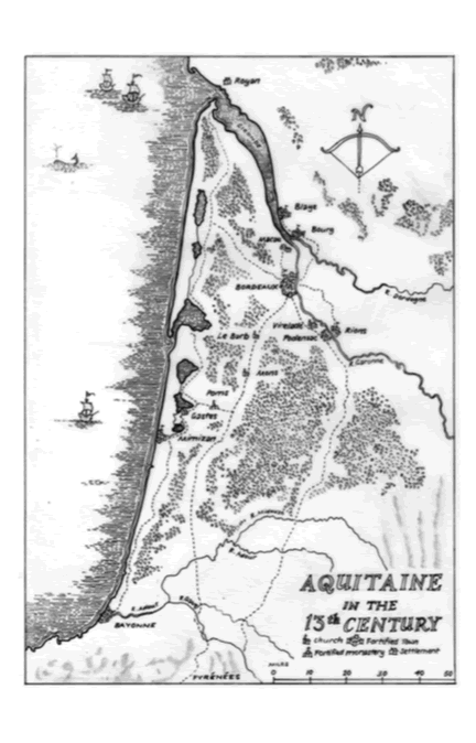 Map of Aquitaine in 13th century