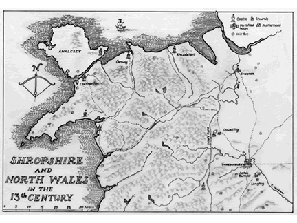 Map of Shropshire and North Wales in 13th century